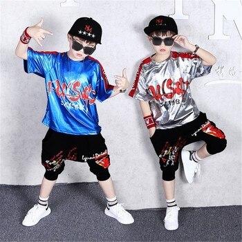 9800d3d69 Niños chándal Casual de impresión brillante Camiseta Harem pantalones  cortos 2 piezas adolescentes niños conjuntos de ropa de baile Hip Hop ...