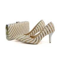 2018 новые дизайнерские ручной работы свадебные туфли с острым носком Mix белый и золотой Цвет Свадебная обувь с соответствующими кошелек 8 см