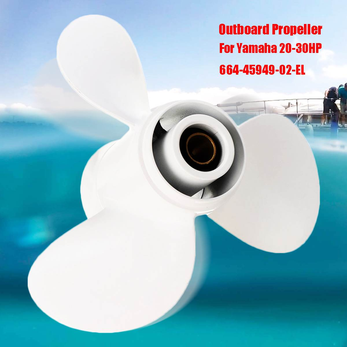 9 7/8 x 13 Marine Boat Outboard Propeller For Yamaha 20 30HP 664 45949 02 EL Aluminum Alloy White 3 Blades 10 Spline Tooth