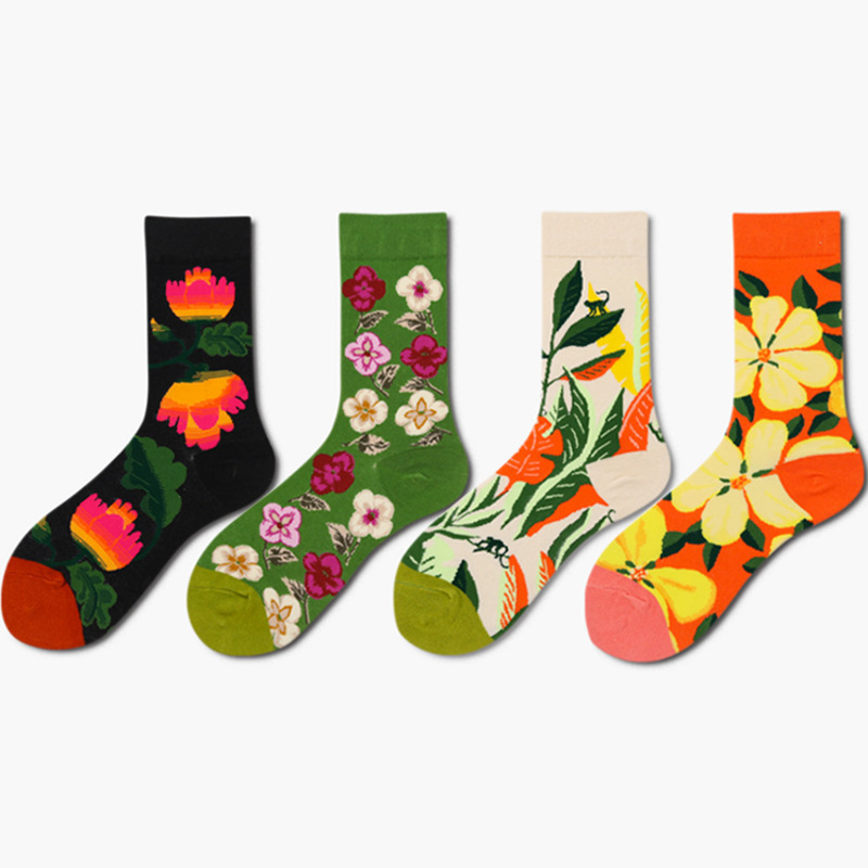 Kind-Hearted Men Socks Funny Cartoon Bird Cat Flowers Plant Happy Skate Harajuku Street Style Hip Hop Fashion Male Cotton Casual Dress Socks Extremely Efficient In Preserving Heat Underwear & Sleepwears