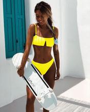 Hot Sale 2019 Two-Pieces Sexy Brazilian Bikini Thong Swimsuit Solid Colors Beach Bathing Swimwear Women Ladies Underwear