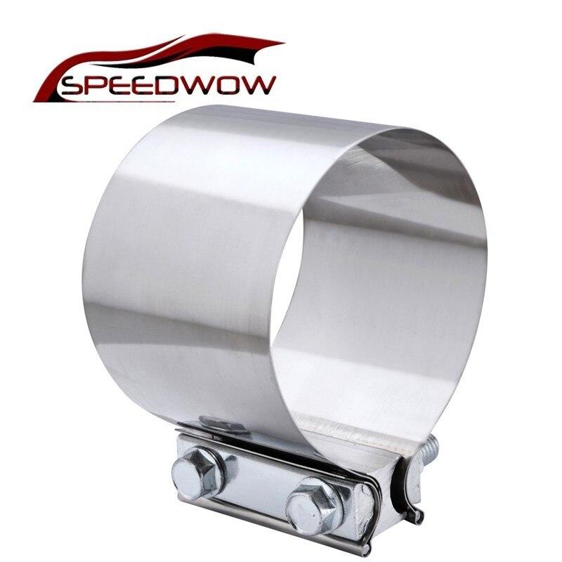 """Speedwow 2.0/"""" Butt Joint D/'échappement Bande Pince manche acier inoxydable 2 pièces"""