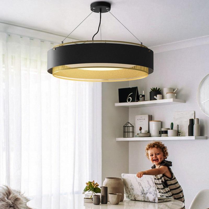 Pendant lights 38/62cm Kitchen Fixture Restaurant Led Pendant Lamp Black White Suspension Lighting Round Hanglamp
