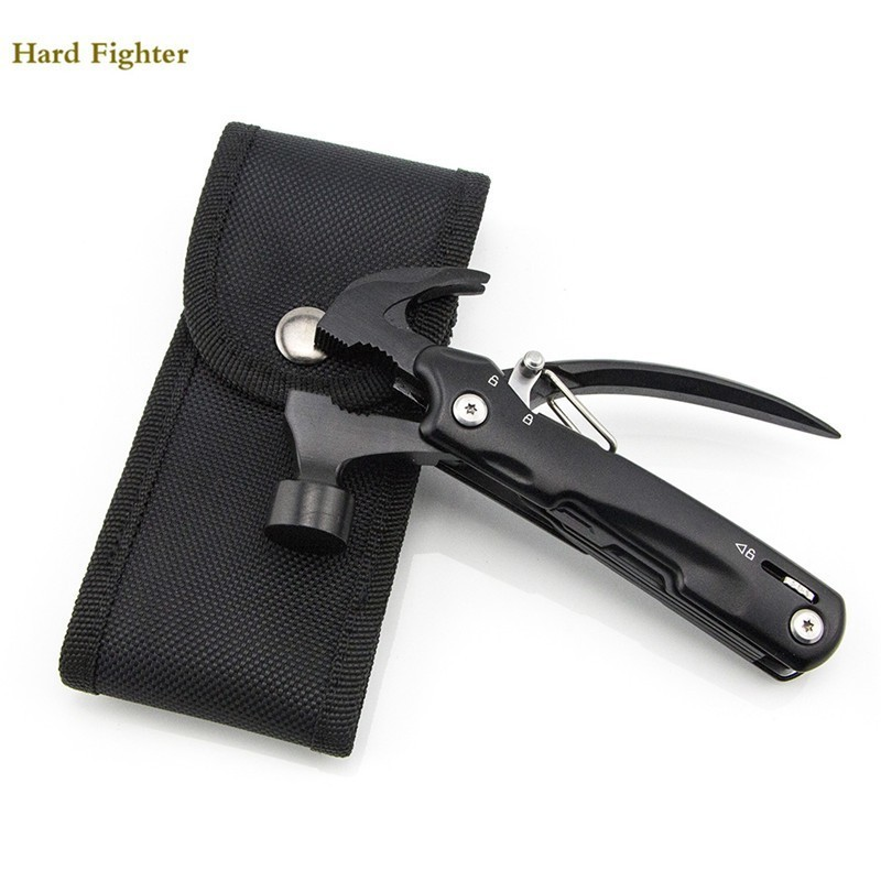 Hammer multitool outdoor black survival pliers pocket knife folding tool cutter serrated jaw hand Combination Multi Functional