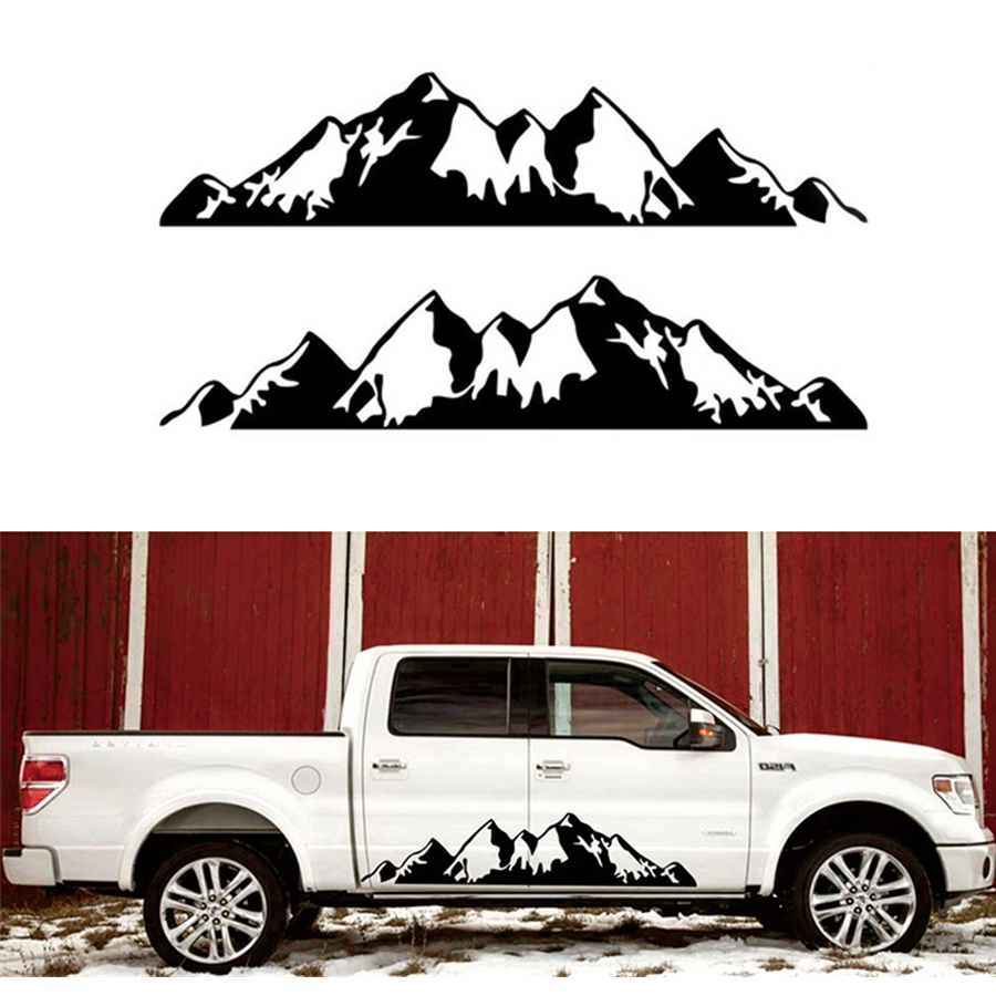 1 Pair For Truck RV <font><b>Motorhome</b></font> Door body Vehicle <font><b>Sticker</b></font> Snow Mountain <font><b>decal</b></font> Vinyl 198x43cm image
