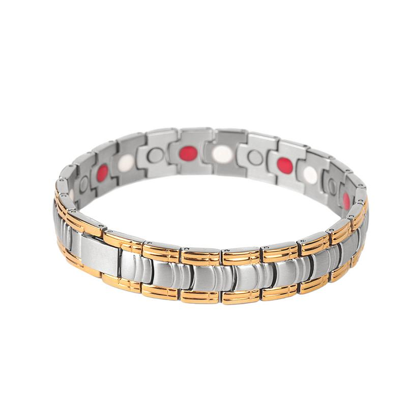 Titanium Steel Bracelet Classic Plated Double Strength 4 Element Magnetic Therapy Adjustable Wristband for Arthritis Pain Relief