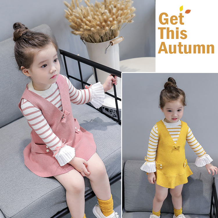 Childrens clothing new spring and autumn cotton 2019 baby suit fashion V-neck dress + striped T-shirt girl clothes