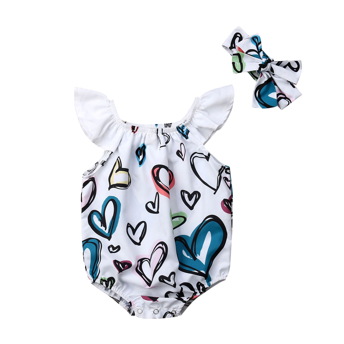 Summer Infant  Newborn Baby Girl Heart Print Romper+Headband  Outfit Clothes
