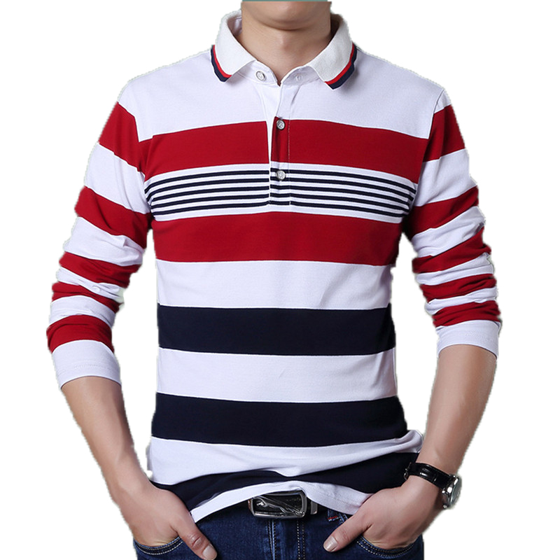 Business Polo Shirt Collar Men Classic Button Brand Contrast Red Stripe Shirt Full Long Sleeve Casual Male Dress Polo Shirts