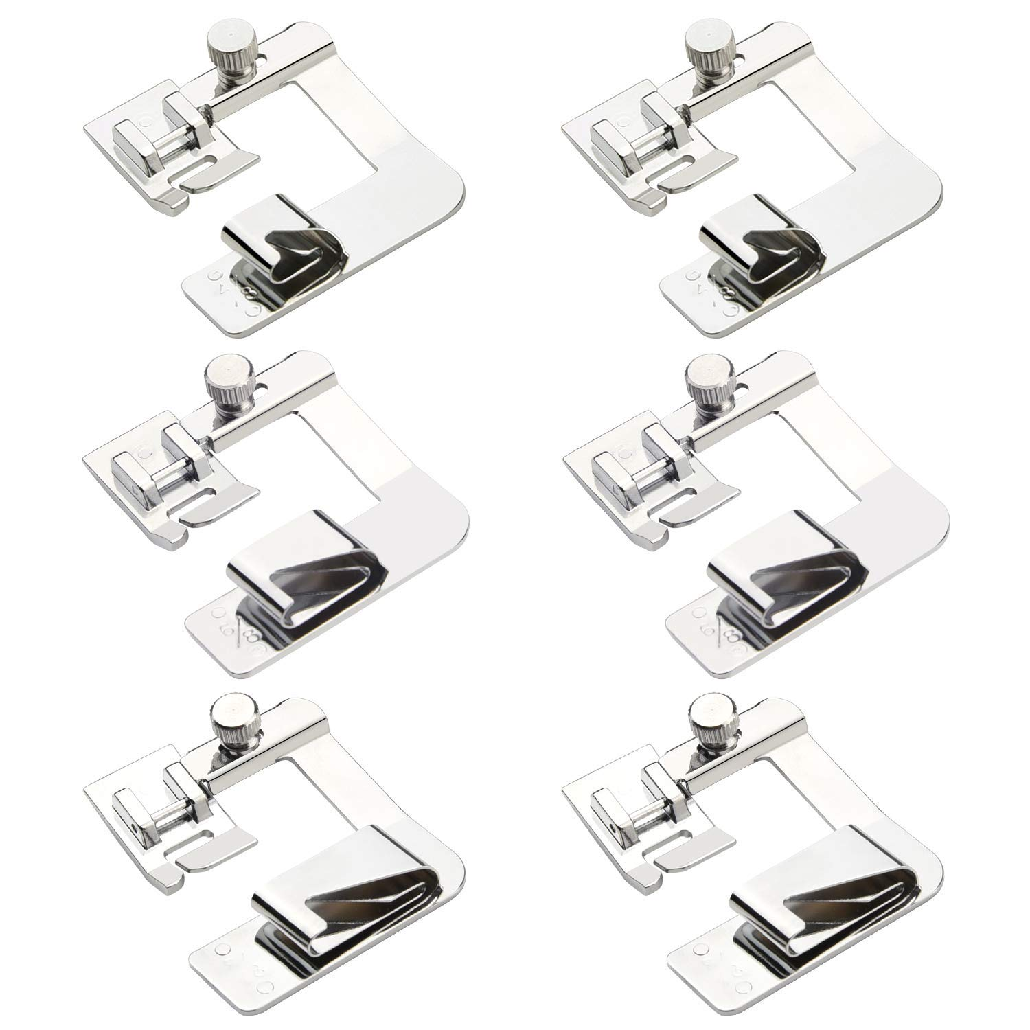 6pcs Wide Rolled Hem Presser Foot Adjustable Wide Foot Kit