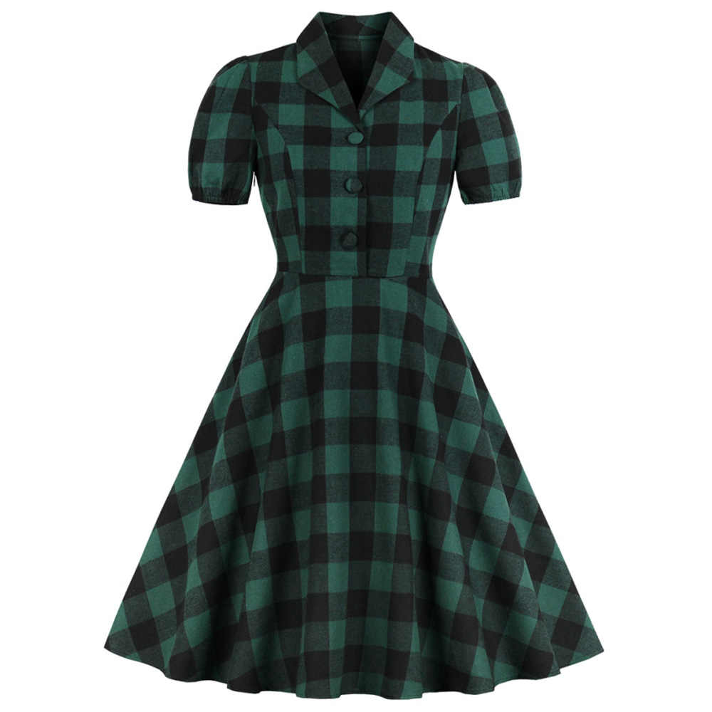 Joineles 1960s Audrey Hepburn Women Vintage Dress Turn Down Collar Short Sleeves Summer Retro Dress Elegant Plaid Party Vestidos