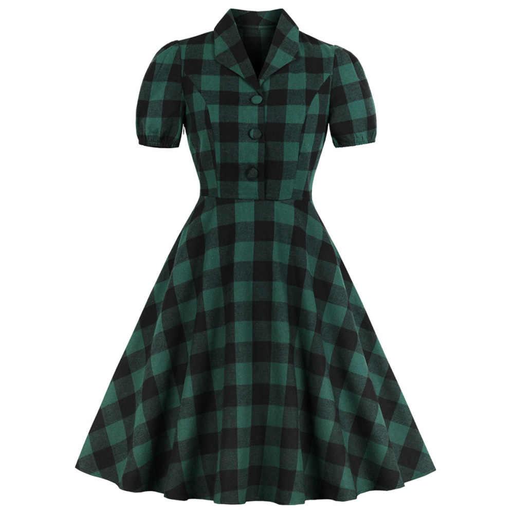 Joineles, 1960 s, Одри Хепберн, женское винтажное платье, отложной воротник, короткий рукав, летнее ретро платье, элегантное, в клетку, вечерние, Vestidos