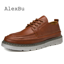 AlexBu Autumn Leather Shoes Men Casual Thick Bottom Lace Up
