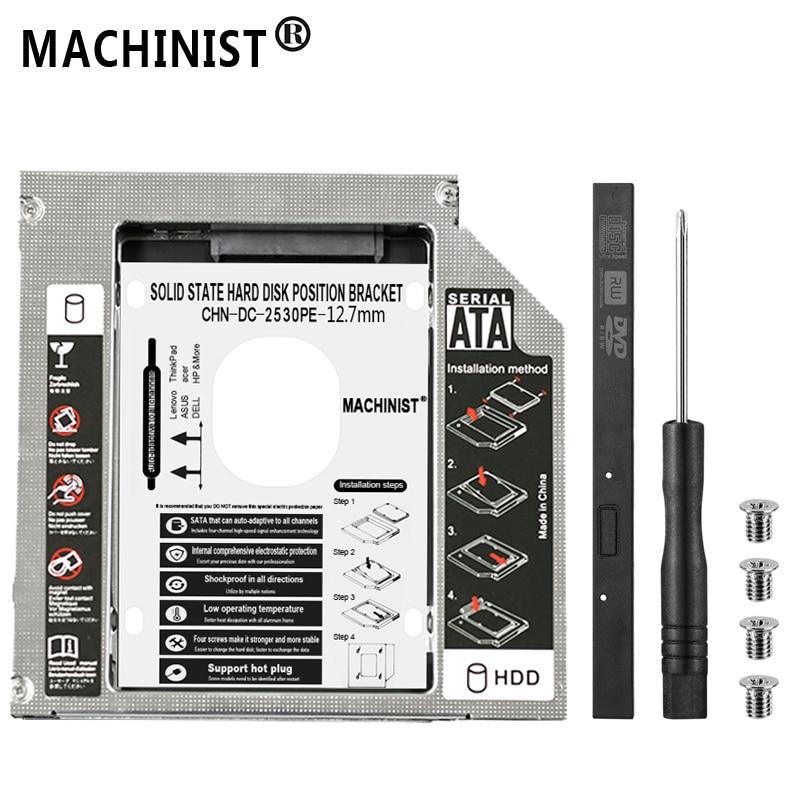 Aluminum Optibay 12 7mm SATA 3 0 2nd HDD Caddy SSD CD DVD Case Enclosure caddy