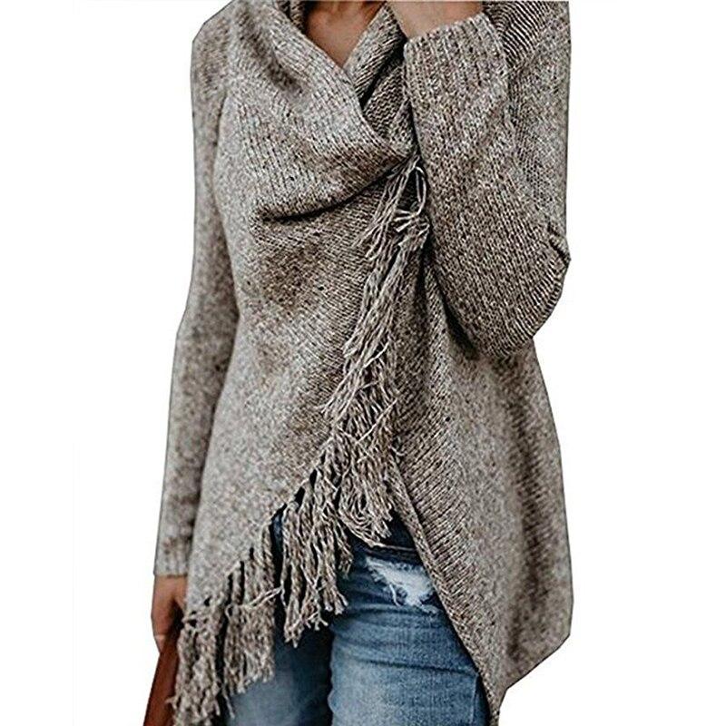 2018 herbst Winter Frauen Gestrickte Pullover Langarm Jumper Pullover Tassal Fringe Schal Top Weibliche Pullover Übergroßen Pullover