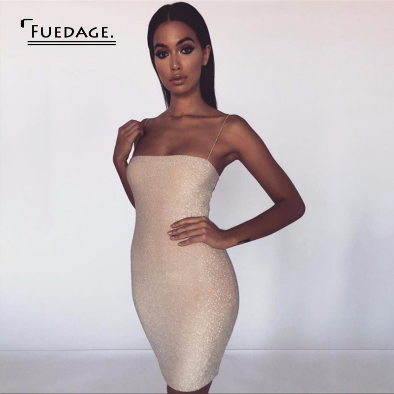Fuedage 2019 Beige Glitter Backless Sexy Bodycon Dress Women Spaghetti Strap Elegant Mini Dress Short Solid Summer Dress Vestido
