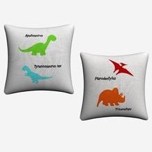 Dinosaur 2pcs Simple Clipart Artwork Cotton Linen Cushion Cover For Sofa Seat Car 45x45cm Throw Pillow Case Home Decor Almofada