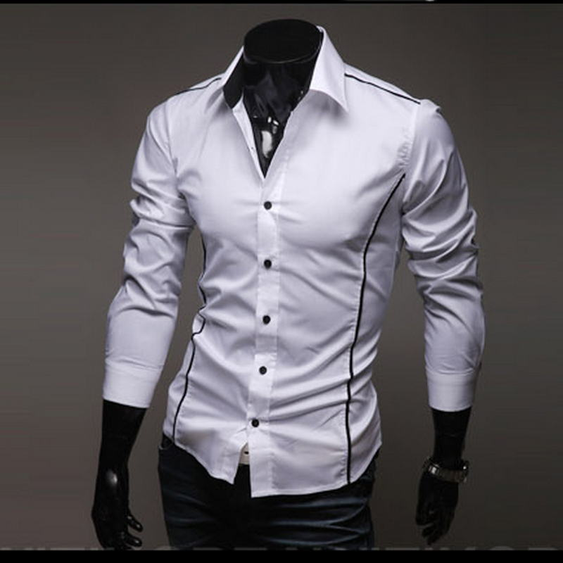 14db21eb7 2019 Men's Luxury Stylish Casual Designer Edge Piping Long Sleeve Dress  Shirt Muscle Fit Shirts 3 Color 5902-in Casual Shirts from Men's Clothing on  ...