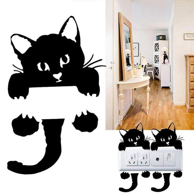 Cute Cat Switch Stickers Wall Stickers Home Decoration Bedroom Parlor Decoration Sticker Kid PVC Home Decal Mural Art Wallpaper