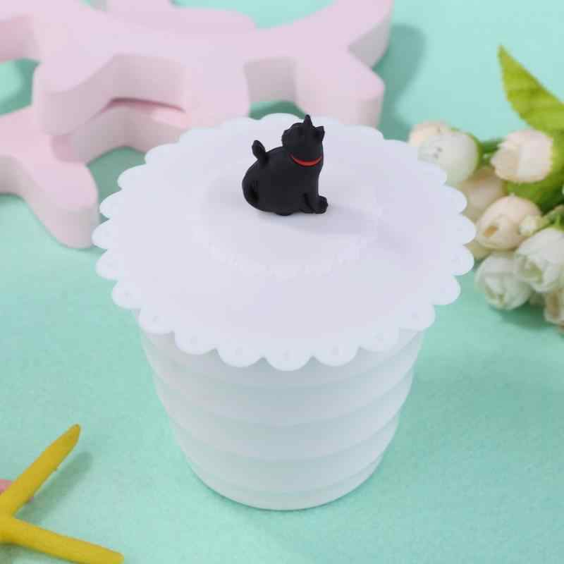 Cartoon Cat Silicone Cup Cover Dustproof Leakproof Tea Coffee Sealed Lids Cap Universal Reusable Silicone Stretch Lids