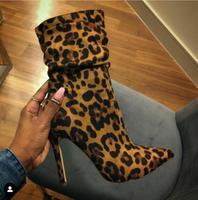 Модные женские ботинки с леопардовым носком на высоком каблуке; женские полусапожки