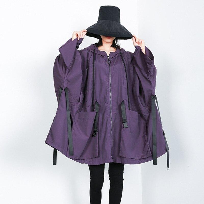LANMREM 2019 New Fashion Oversize Hooded Full Sleeve Bawting Type Big Size Jacket Female s Zipper
