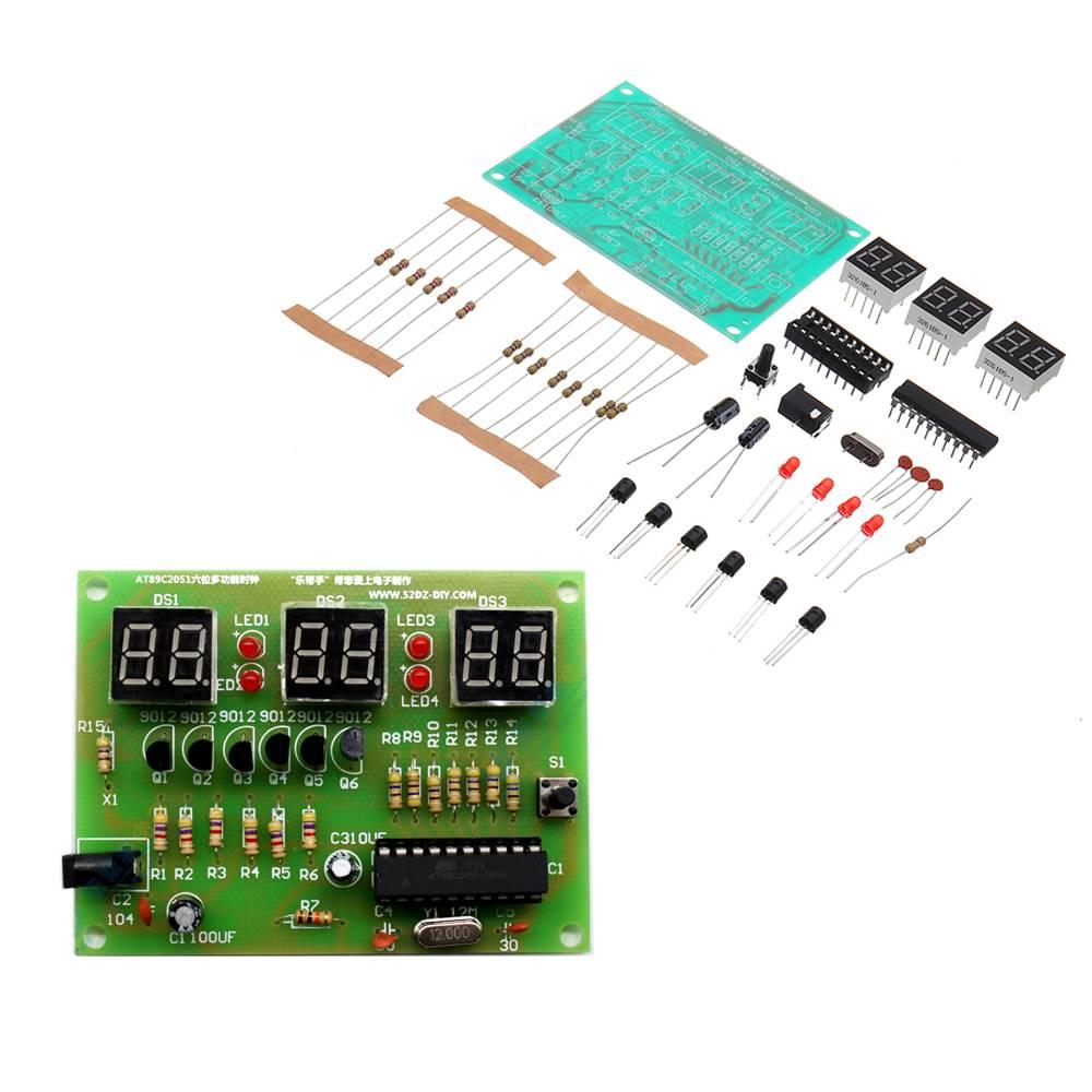 1 Set AT89C2051 DIY Digital LED Electronic Clock Kit Suite DIY Six 6 Bits