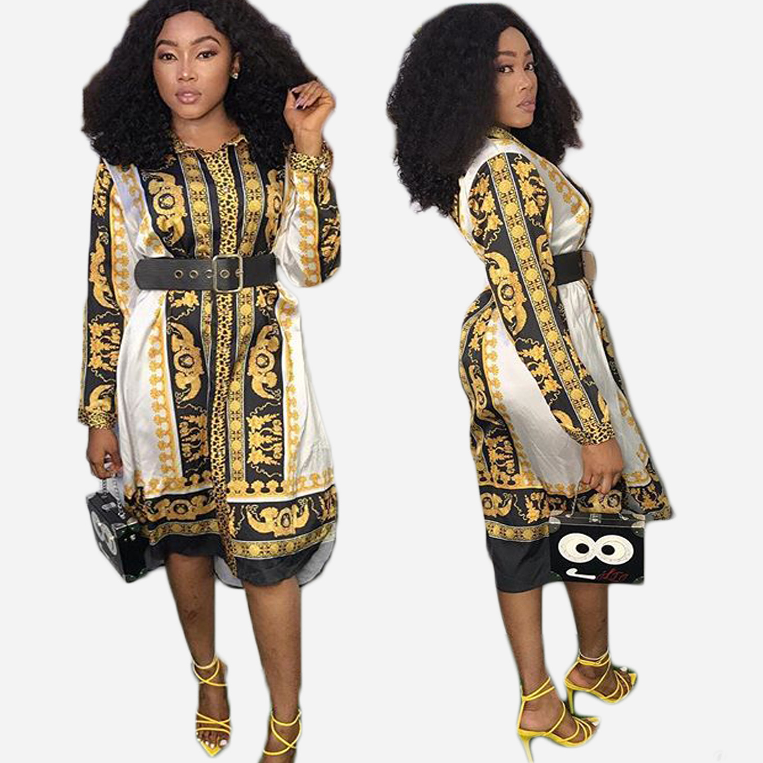 2019 Summer New Style, African National Style, Fashionable Digital Printing, Long Sleeve, Standing Collar, Dress
