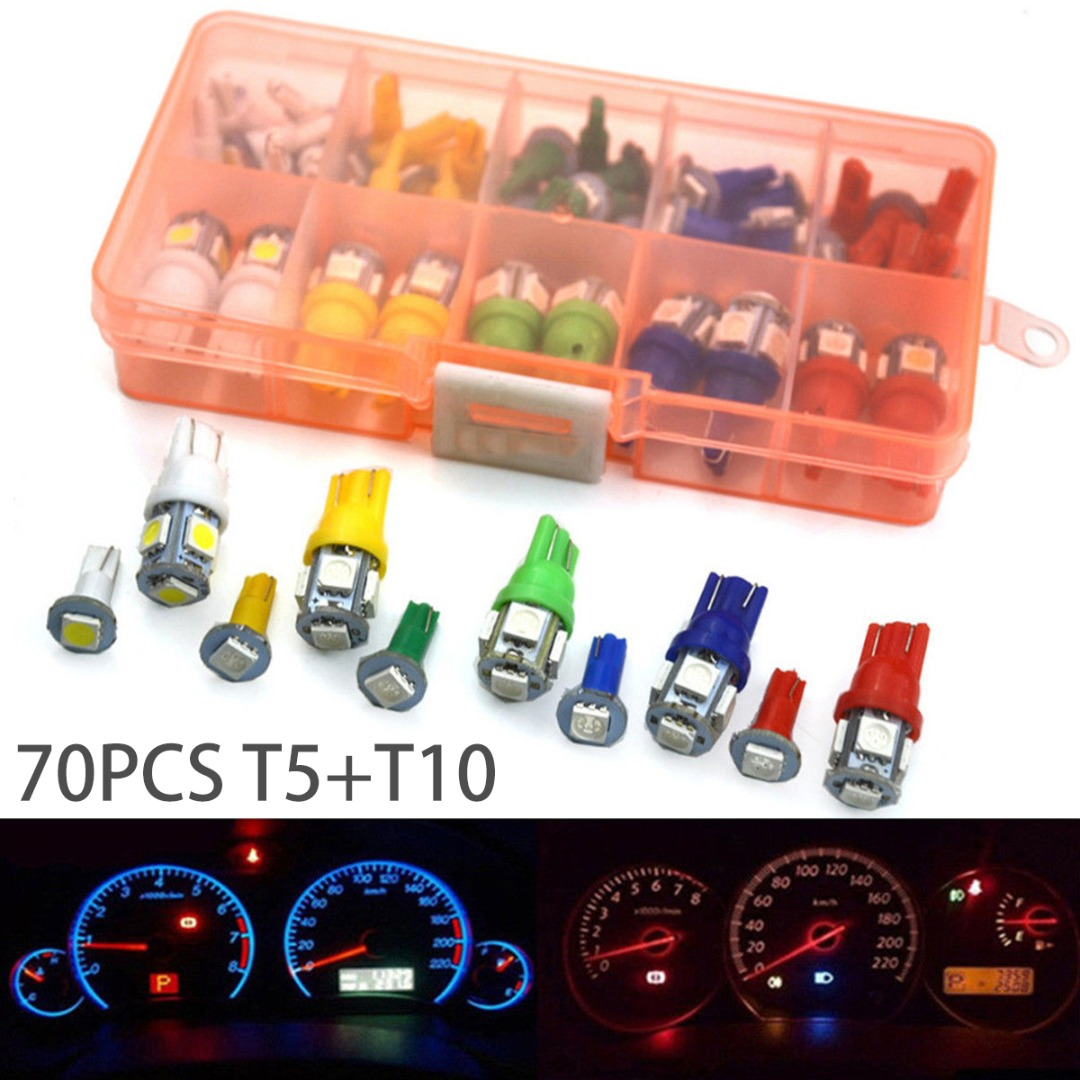 New Arrival 70pcs T5+T10 LED Car Instrument Panel Light 5 Colors Cluster Dash Indicator Light Bulb Kit