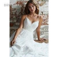 BRITNRY дешевые свадебные платья суд поезд принцесса спинки шифон Кружева белое свадебное платье свадебное пляжное платье