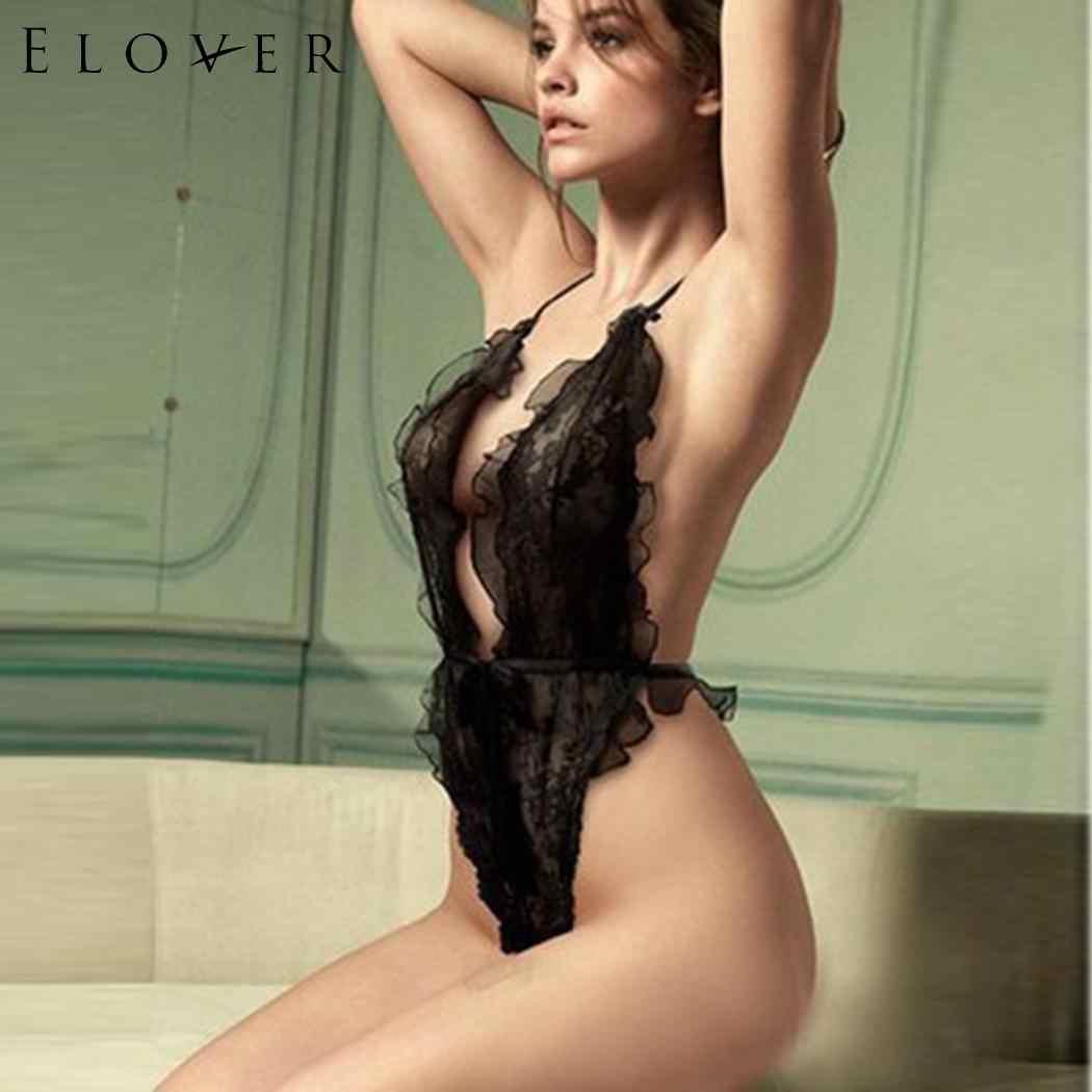 Elover Sexy Bodysuit Lingerie Hot Erotic Regular Mesh Women Wear Bodysuit Three Lace Trim Night See