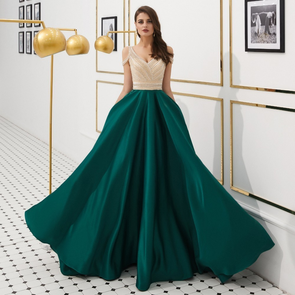 Vivian's Bridal Elegant Green Satin   Evening     Dress   Sexy Deep V-neck Backless Off Shoulder Crystal Beading Women Formal   Dress