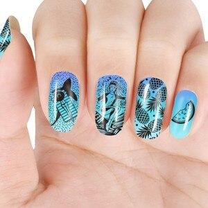 Image 4 - Beautybigbang Nail Stamping Piatti 6*12 centimetri In Acciaio Inox di Estate Sirena Ananas Immagine Stamping Stencil Per Unghie Artistiche XL 071