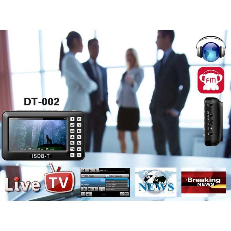 Портативный 4,3 дюймовый ЖК-телевизор Isdb-T Полный Seg Fm перезаряжаемый телевизор для фильмов в реальном времени Музыка Fm в любое время ЕС Plug
