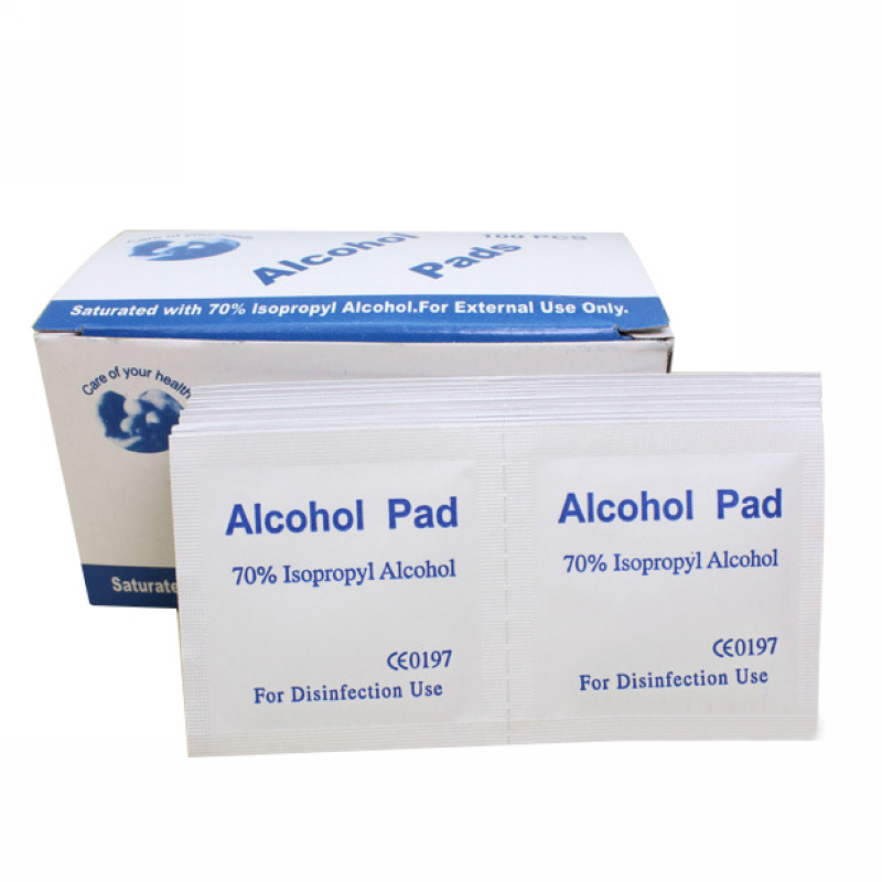 100pcs Portable Alcohol Swabs Pads Wipes Antiseptic Cleanser Cleaning Sterilization First Aid Home Makeup Antibacterial Tool