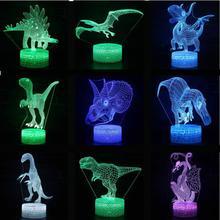 דינוזאור טירנוזאורוס רקס דינוזאור 3d מנורת סלון תאורה יפה Cartoon ילדים צעצועי חג המולד דקורטיבי אורות