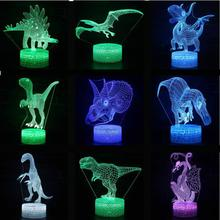 Lámpara 3d de dinosaurio Tiranosaurio Rex para sala de estar, iluminación para niños de dibujos animados encantadores, juguetes de Navidad, luces decorativas