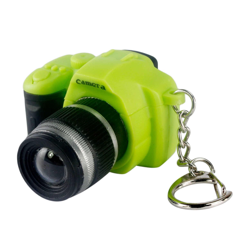 Niños adultos Kawaii Mini cámara SLR llavero realista sonido LED luz llavero de aro bolsa colgante de juguete