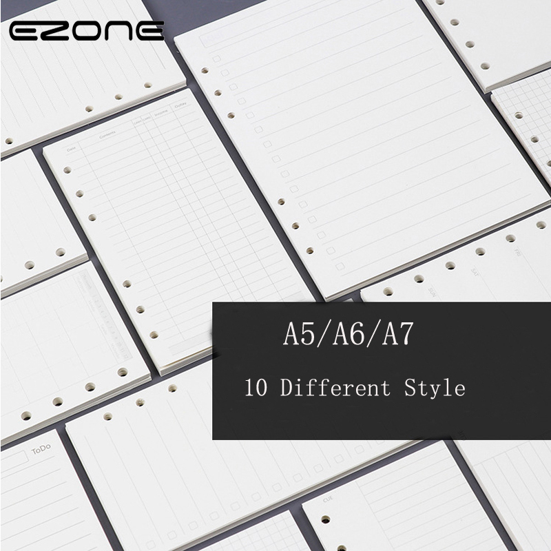 EZONE A5 A6 A7 Loose Leaf Page Refill Spiral Notebook Paper Notebook Insert Refills  Dairy Plan Finance Note Reminder Style