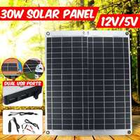 KINCO 12V 30W USB Solar Panel Waterproof Monocrystalline Solar Panel with Car Charger for Outdoor Camping Emergency Light