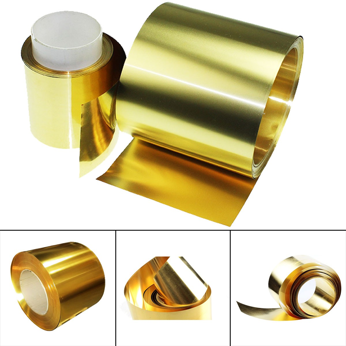 Made in USA 10 Ft Long x 12 Inch Wide x 0.004 Inch Thick Roll Shim Stock Brass