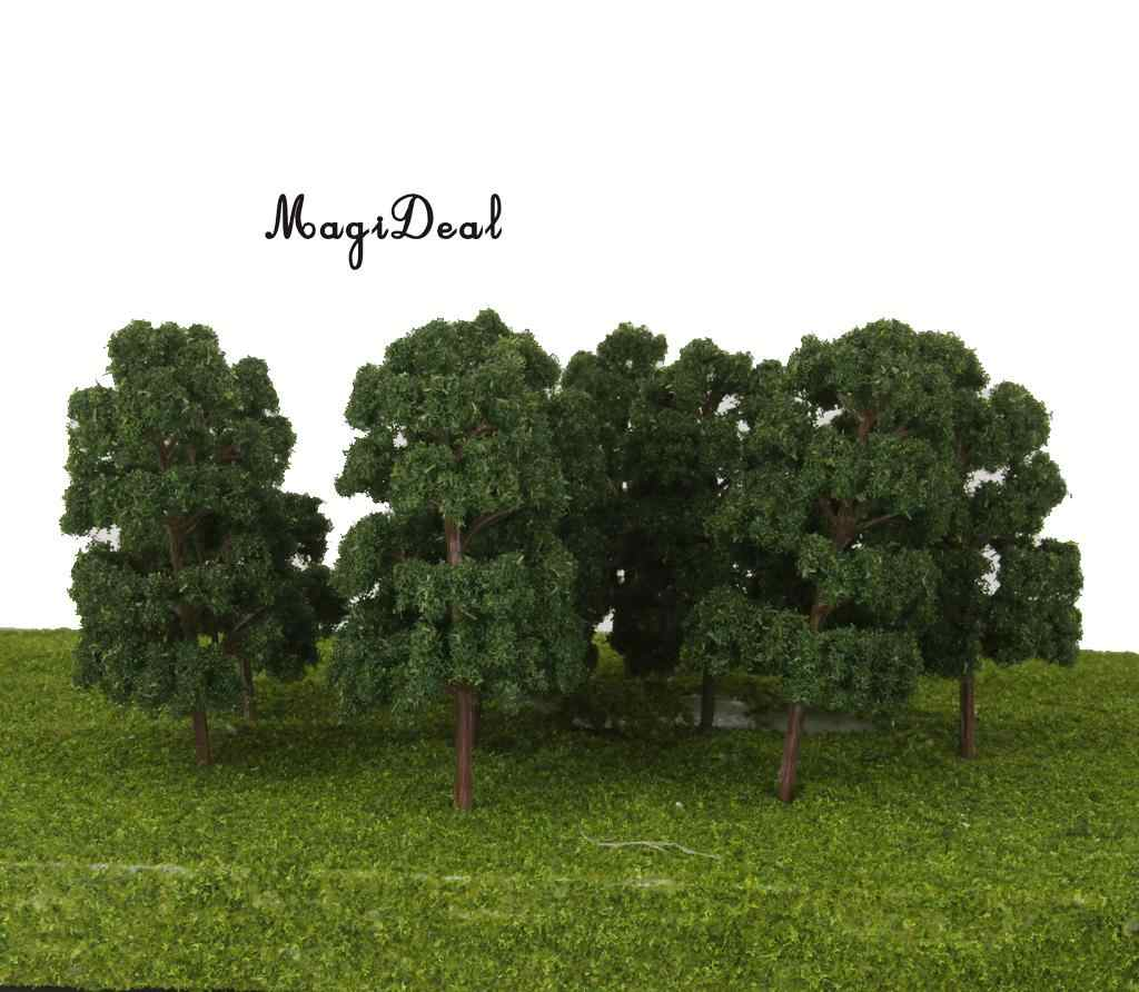 MagiDeal 10Pcs Plastic Model Trees Train Railway Wargame Diorama  Architecture Village Layout HO Scale for Classroom House Decor