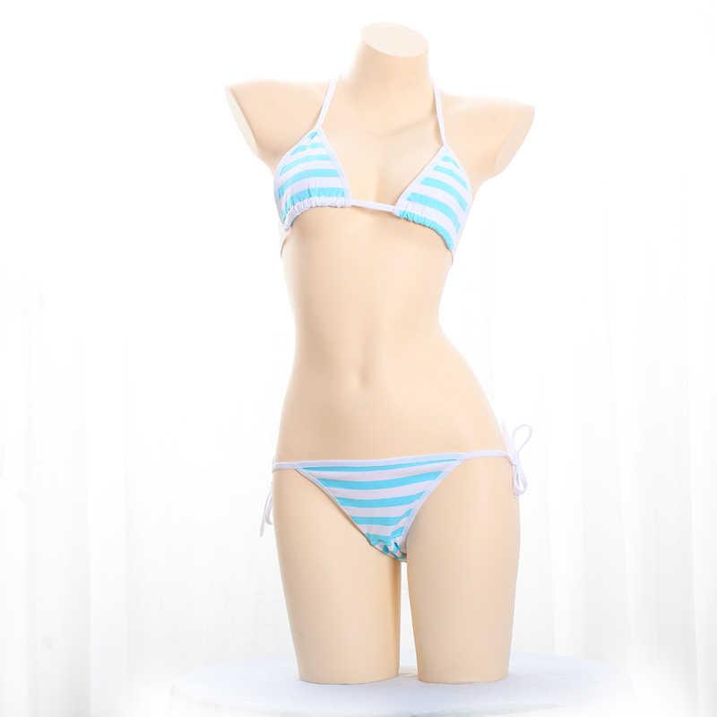 Vrouwen Halter Bh Top Mini Driehoek Cup Body Sexy Micro Bikini Leuke Blauwe Streep Strappy Lingerie Set en Broek g-string