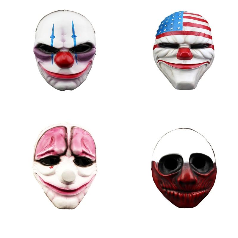 Deluxe Horror Clown Mask Scary Killer Clown Mask Halloween Terror Joker Movie Payday Red Nose Full Face Resin Mask