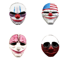 Deluxe Horror Clown Mask Scary Killer Clown Mask Halloween Terror Joker Movie Payday Red Nose Full Face Resin Mask horror clown mask scary killer clown mask halloween terror joker movie full face latex mask