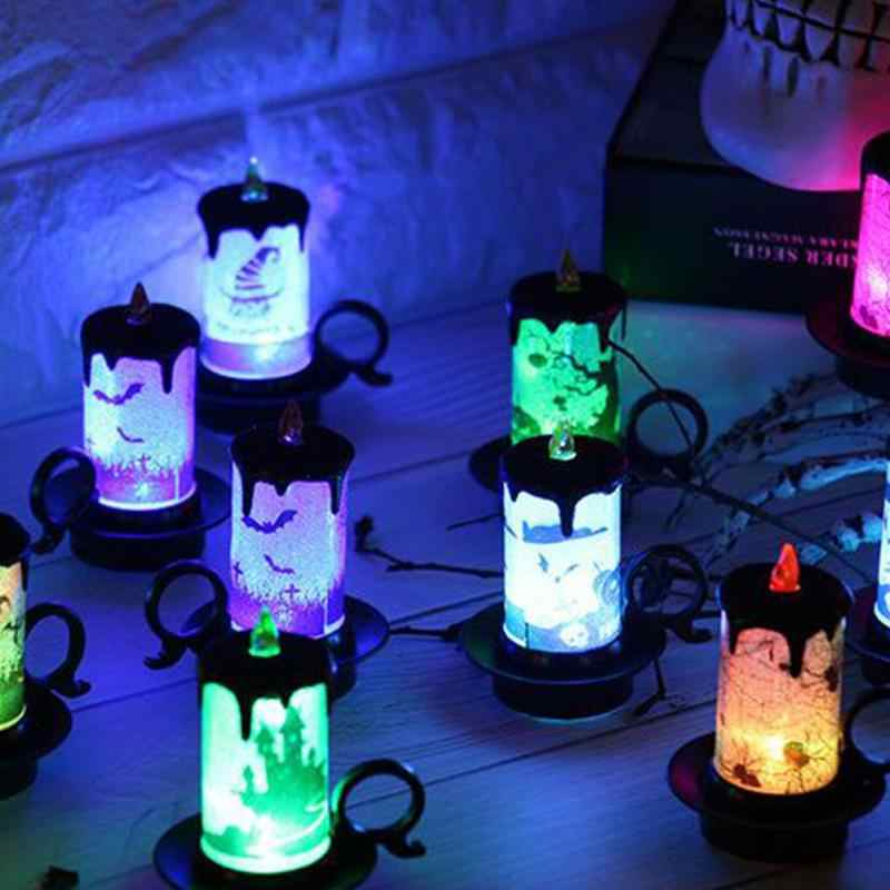 Battery Powered LED Candle Multicolor Lamp Simulation Color Flame Flashing Electronic Tea Light Home Halloween Party Decor #735
