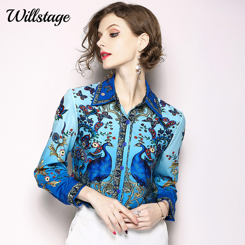 arco regno passaggio  Willstage Blue Floral Shirts Women Long sleeve blouse pattern peacock  printed Tops button Full 2019 Autumn Shirt female clothing|Blouses &  Shirts| - AliExpress