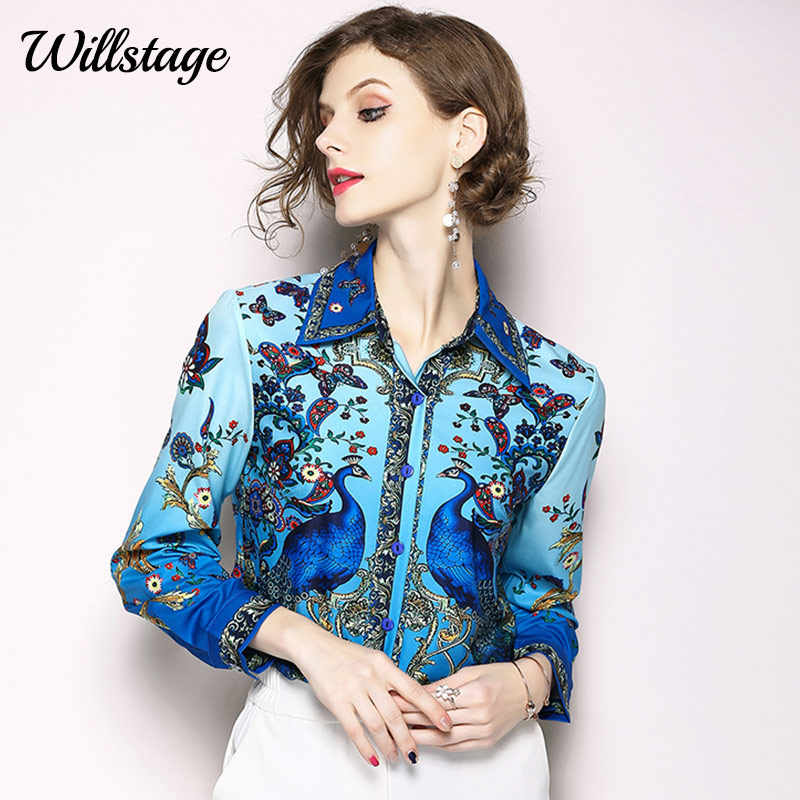 7549b2deec3bfb Detail Feedback Questions about Willstage Blue Floral Shirts Women Long  sleeve blouse pattern peacock printed Tops button Full 2019 Autumn Shirt  female ...