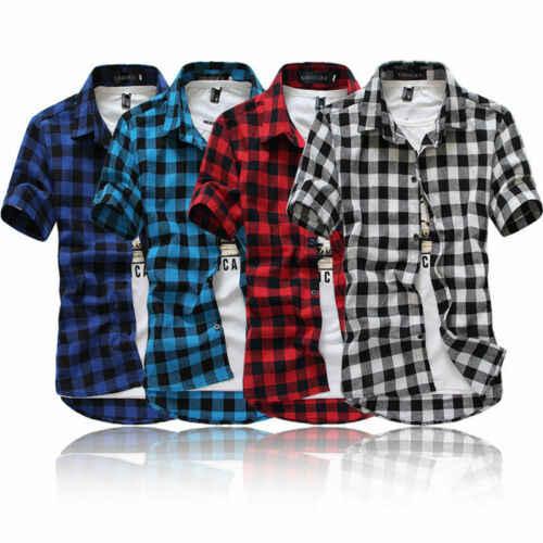 赤と黒の格子縞のシャツ男性シャツ 2019 新夏ファッションシュミーズメンズ市松シャツ半袖シャツ男性ブラウス