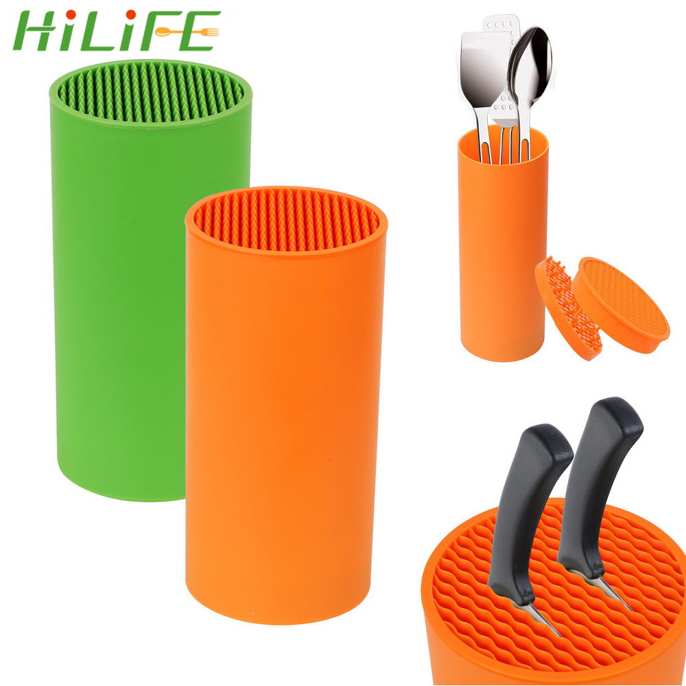 HILIFE Knife Stand Organizer Knife Tool Holder Rack PP Resin Multifunctional Kitchen Bar Knife Storage Block Cooking Tools